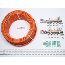 30m2 max. 2 zone/stat. 4 loops... >  4 Port x 200M Underfloor Heating Kit