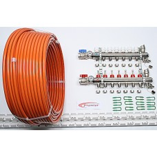 90m2 max. 5 zone/stat. 7 loops... >  7 Port x 600M Underfloor Heating Kit