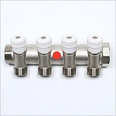 """4V Port G 1"""" X  (M24X19) manifold with valve."""