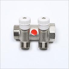 """2V Port G 1"""" X  (M24X19) manifold with valve."""